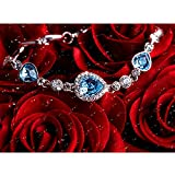 Women Heart Shaped Swarovski Elements Crystal Silver-Tone Plated Bracelet