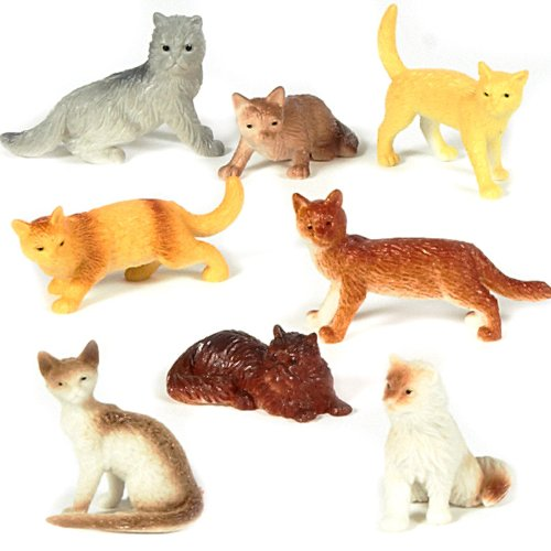 "US Toy Dozen Plastic Cat Figures, 2"" - 1"
