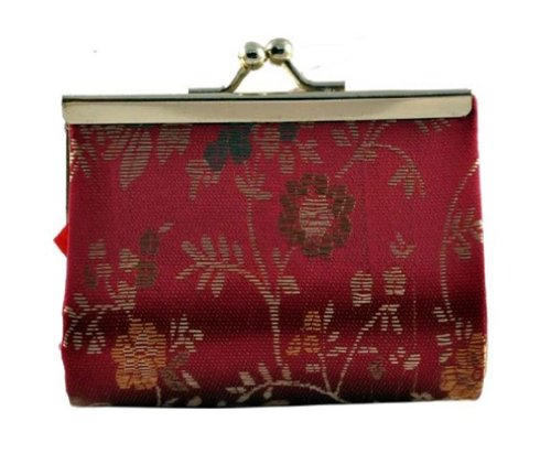 Chinese Burgundy Silk Brocade Coin Purse / Coin Pouch / Change Purse, #4