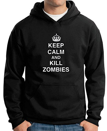 Cotton Island - Felpa Hoodie TZOM0042 keep calm and kill zombies tshirt, Taglia XXL