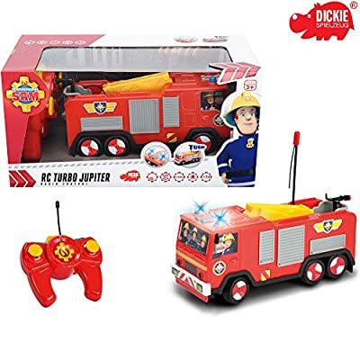 RC Feuerwehrfahrzeug Jupiter von Feuerwehrmann Sam, ferngesteuert, 22 cm: Ferngesteuertes Fahrzeug Feuerwehr Auto Spielzeug