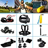 Black Pro 13-in-1 Basic Common Outdoor Sports Kit for Gopro Hero4 Silver Black Hero 4 3+ 3 2 in Jogging Parachuting Swimming Diving Surfing Climbing Bike Camping Rowing Skiing Outing Any Other Outdoor Sports, Head Belt Strap Mount+ Chest Belt Strap Mount+ Extendable Handle Monopod + Car Suction Cup Mount Holder + 2 PCS Tripod Mount Adapter+2 PCS Gopro Surface J-hook + Bike Handlebar Mount Holder + Rotating Adjustable Wrist Mount+black Pro Cleaning Cloth+black Prolanyard + Floating Handle Grip + 360 Rotary Clip Mount+ Extendable Handle Monopod
