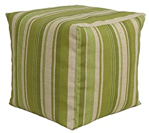 Codson Park 81146 Indoor/Outdoor Pouf, Breezeway Strip Moss, 18-Inch from India House Brass L&G