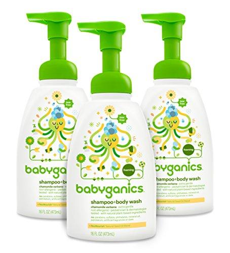 Babyganics Baby Shampoo + Body Wash, Chamomile Verbena, 16oz Pump Bottle (Pack of 3)