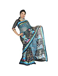 ABSTRA Women's Blue And Black Cotton Printed With A Girl And Deer Blue Thread Work Handloom Tant Saree