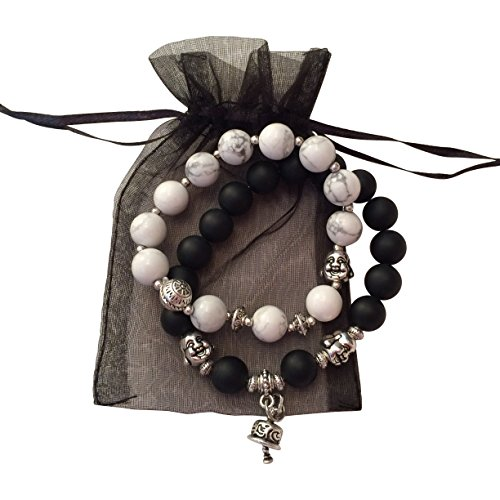 OMBEADS Unique Buddha Bracelet set of 2, Black and White Mala Beads, Tiny Smiling Buddha Charms - Gifts (All Departments compare prices)