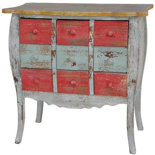 Oriental Furniture Distressed Nine Drawer Medicine Cabinet front-81236