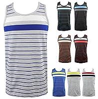 Enimay Men's Summer Hulk Stripe Beach Tank Slim Fit Muscle Shirt (Many Colors)