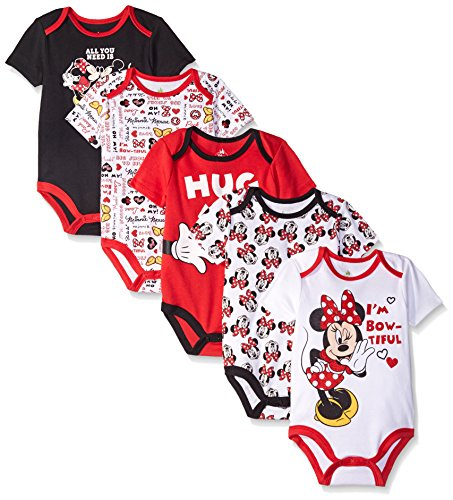 Disney Baby Minnie Mouse 5 Pack Bodysuits, Multi/Red, 12-18 Months