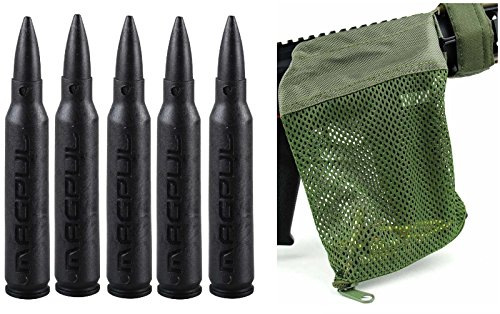 Magpul 215 Black 5.56 Pack Of 5 Dummy Ammo + Ultimate Arms Gear Tactical Od Olive Drab Green Deluxe Mesh Ar15 Ar-15 .223 5.56 Rifle Brass Shell Bullet Catcher Bag