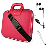 Fashion Faux Leather Hard Shell Cube, Shoulder Bag, Travel Carrying Case For The All New Kindle Fire HD 8.9 inch Android Tablet by Amazon + Crystal Clear High Quality HD Noise Filter Ear buds Earphones Headphones With Mic ( 3.5mm Jack ) + Professor Pen 3 in 1 Red Laser Pointer / LED White Light / Stylus / White Pen