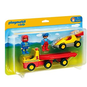 Amazon.com: Playmobil 6761 1.2.3 Racing Car with Transporter: Toys & Games