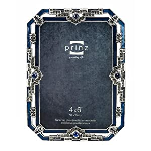 4x6 sophia antique silver metal picture frame with jewels home kitchen. Black Bedroom Furniture Sets. Home Design Ideas