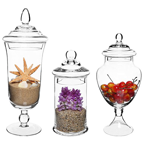 Mygift set of 3 clear glass apothecary jars decorative for Glass jar kitchen ideas