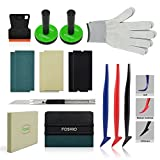 FOSHIO Car Wrap Vinyl Vehicle Film Tool Kit with Film Scrapers, Wool squeegee, Vinyl Cutters, Tint Magnet holders, Gloves,3 Kinds of Squeegee Felts and Flexible Micro Squeegee
