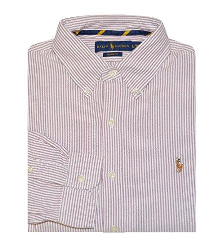 Ralph Lauren Men'S Custom Fit Oxford Button-Down Pony Logo Shirt (S, Red/White)