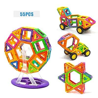 Magnetic Blocks, Magnetic Tiles, 55 Pcs Magnetic Tiles Building Blocks Magnetic Construction Set Educational Stacking Toys
