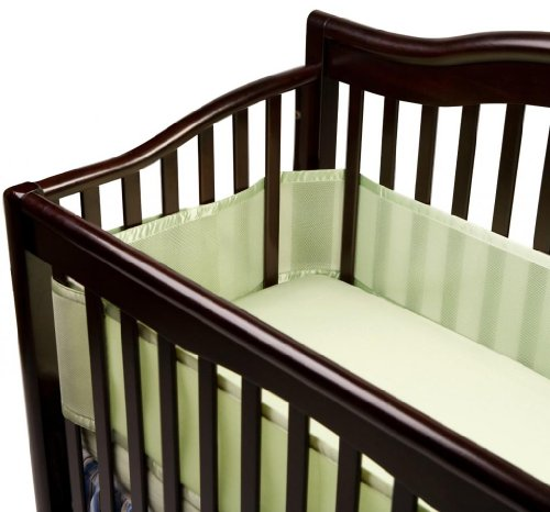 Breathable Baby Crib Bumper And Waterproof Mattress Pad, Sage front-990707