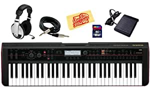 Korg Kross 61-Key Portable Synthesizer Workstation Bundle with SD Card, Sustain Pedal, Instrument Cable, Headphones, and Polishing Cloth
