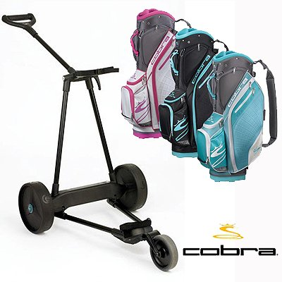 New! Emotion E3 23Lbs Pull Push Electric Motorized 3-Wheel Golf Cart Trolley + New! Cobra Women'S Amp Cart Bag