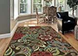 Universal Rugs 1024 Deco Transitional Area Rug, 5-Feet 3-Inch by 7-Feet 3-Inch, Brown
