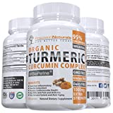 Organic Turmeric Curcumin Extract with Bioperine (Black Pepper Extract) for Maximum Absorption 1000mg Advanced Pain Relief and Joint Support 95% Standardized Curcuminoids 120 Capsules/Pills
