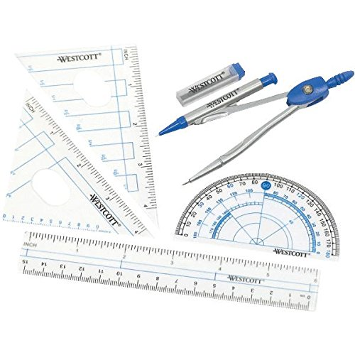 Westcott Six Piece Geometry Tool Kit With Pouch, Assorted Colors, (14564)