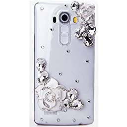 LG Escape 2 / Spirit 4G LTE Case, Sense-TE Luxurious Crystal 3D Handmade Sparkle Diamond Rhinestone Clear Cover with Retro Bowknot Anti Dust Plug - Camellia Flowers / White
