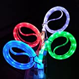 NoveltyThunder - Blue 1M 1 Meter Metre Led Light Up Micro USB V8 Charger Cable Anti Tangle Long For or Samsung Galaxy S2 S3 S4 S5 Sony Xperia Z1 Z2 Blackberry Curve 9320 9220 HTC One Desire Torch Bold Nexus 5 LG G2