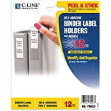 C-Line Self-Adhesive Binder Label Holders for 2-Inch Binders, 1-3/4 x 2-3/4 Inches, 12 per Pack (70023)