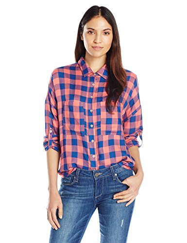 Liverpool Jeans Company Women's Kaylee Split Back Long Sleeve, Coral/Blue, Medium (Plaid Shirt With Split Back compare prices)