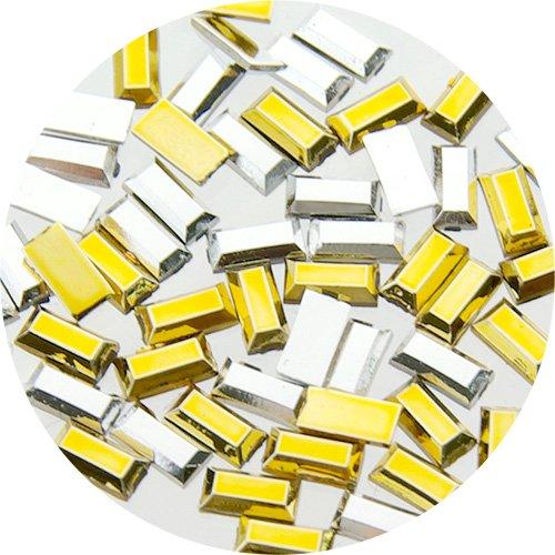 サルルプロジェクトミニミニスタッズ 長方形1.5×3.0mm シルバーゴールドMIX
