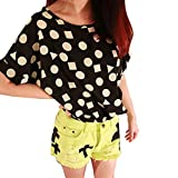 TOPTIE Women's Short Sleeve Chiffon Top T-shirt Blouses, Various Design - BLACKGEOMETRIC,M