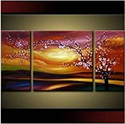 Santin Art - Plum Tree Blossom 100% Hand Painted Abstract Wall Art Sets Painting for Home Decoration Oil Painting. 3 Piece Frame Art