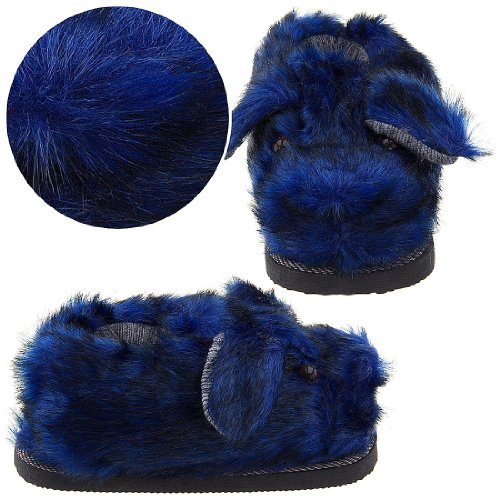 Cheap Blue Fuzzy Dog Slippers for Women (B0096UBLGC)