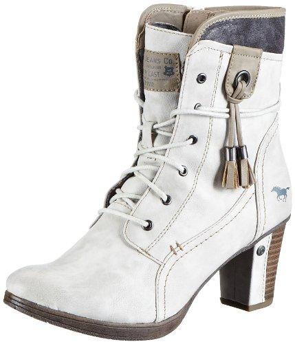 Mustang Schnür-Booty, Damen Kurzschaft Stiefel, Weiß (203 ice), 40 EU (6.5 Damen UK)