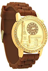 Fashion style Geneva Rhinestone Rubber Watch for Women brown and rose gold tone - 8