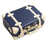 Urecity レディーズ PU革素材 カラーブロックスーツケース 化粧品 ショルダーバッグ - S ブルー ベージュ