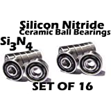 Speed Skate Ceramic Si3N4 Inline Race Bearings SET (16) Roller Hockey