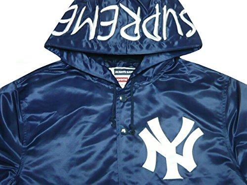 SUPREME シュプリーム New York Yankees ニューヨークヤンキースコラボ 2015SS サテン フーデッド コーチジャケット ネイビー 47 Brand Satin Hooded Coaches Jacket
