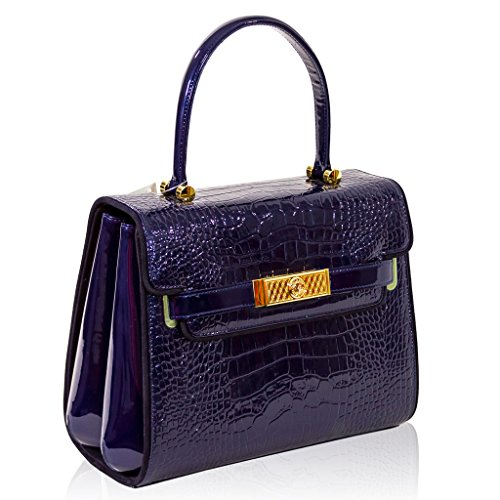 a930eae8b397 Valentino Orlandi Italian Designer Midhgnight Blue Croc Leather Top ...