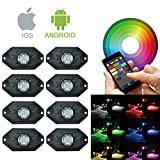 RGB LED Rock Lights Bluetooth with 8 Pods Lights for for Jeep Off Road Truck Car ATV SUV Vehicle Boat Underbody Glow Trail Rig Neon Lights Waterproof