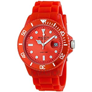 Madison Candy Time Red Dial Red Silicone Strap Watch U4167-11-2