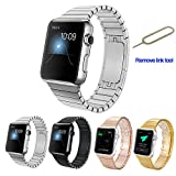 Apple Watch Band,Teslasz 316L Stainless Steel Replacement Smart Watch Band Link Bracelet with Double Button Folding Clasp for 42mm Apple Watch All Models (Silver 42 MM)