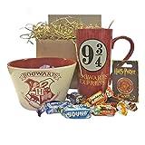 Harry Potter Hogwarts Gift Set with Breakfast Bowl, Mug, Pin Badge and Celebrations Chocolates