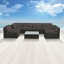 Hot Sale Genuine Luxxella Outdoor Patio Wicker Sofa Sectional Furniture BELLA 7pc Gorgeous Couch Set DARK GREY