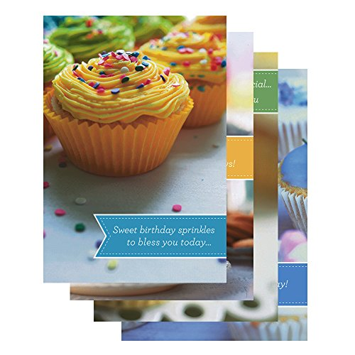 DaySpring Birthday Greeting Card with Embossed White Envelopes, 12 Count, Cupcakes (37117)