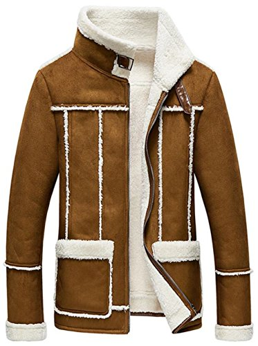 Jinmen Men`s Luxury Suede Coat Jacket Lamb Wool Lining & Fur Coat (X-Large, USPY1143-Brown)