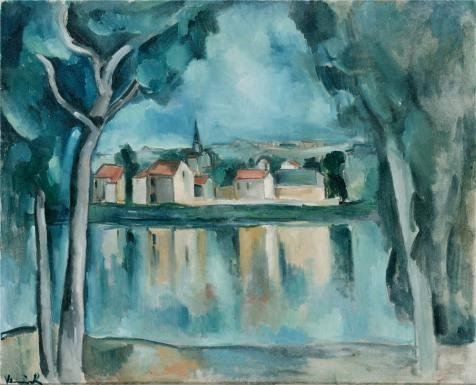 Oil Painting 'Town On The Bank Of A Lake,1909 By Maurice De Vlaminck' Printing On Perfect Effect Canvas , 20x25 Inch / 51x63 Cm ,the Best Foyer Artwork And Home Gallery Art And Gifts Is This Vivid Art Decorative Prints On Canvas