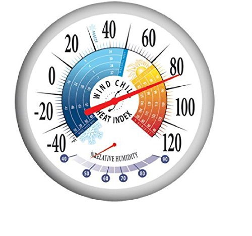 Springfield Outdoor 3 Count Thermometers with Wind Chill-Heat Index and Hygrometer, 13.25-Inch